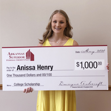 Anissa Henry, our 2020 Scholarship Winnder