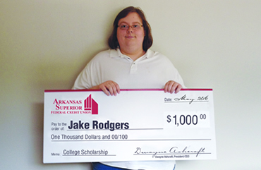 Congratulations to Arkansas Superior Federal Credit Union's 2016 Scholarship Recipient - Jake Rodgers